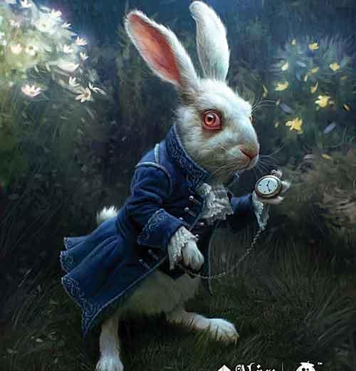 Dal film alice nel paese delle meraviglie, il bianco coniglio con l